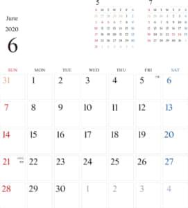 カレンダー 2020 無料|6月 シンプルなカレンダー A4 1ヶ月毎(日曜始まり)