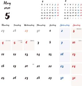 カレンダー 2020 無料|5月 シンプルなカレンダー 手書き風 A4 1ヶ月毎(月曜始まり)