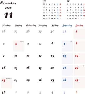 カレンダー 2020 無料|11月 シンプルなカレンダー 手書き風 A4 1ヶ月毎(月曜始まり)