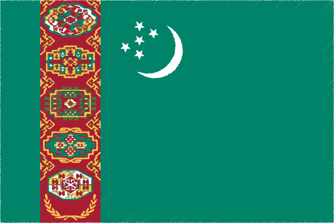 国旗 イラスト 無料 トルクメニスタンの国旗