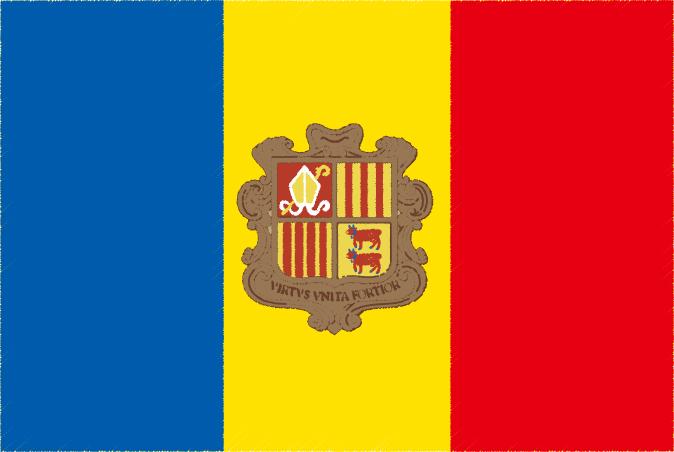 国旗 イラスト 無料|アンドラ公国の国旗