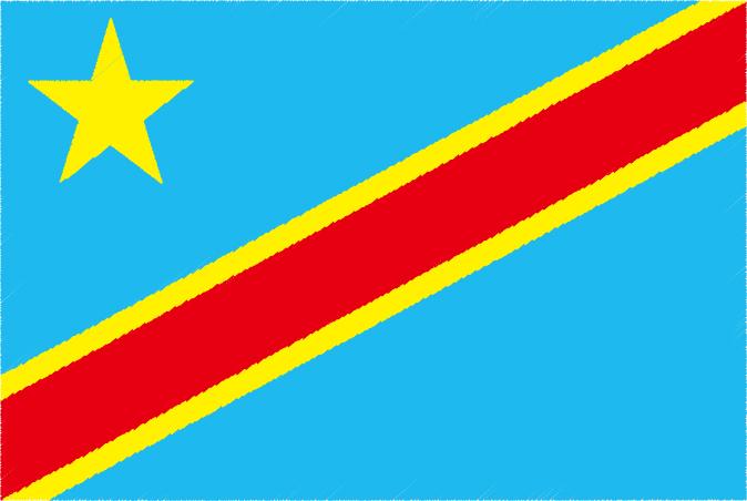国旗 イラスト 無料|コンゴ民主共和国の国旗