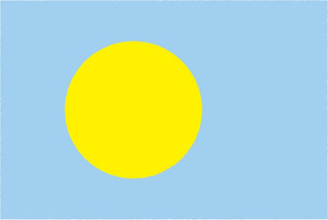 国旗 イラスト 無料|パラオ共和国の国旗