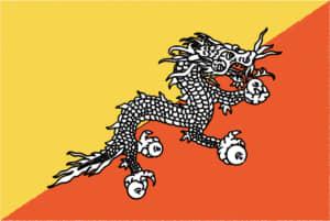 国旗 イラスト 無料|ブータン王国の国旗