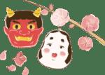 節分 イラスト 無料 手書きの赤鬼とお多福 梅の花