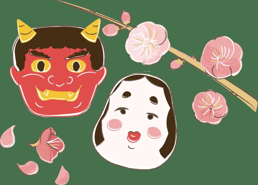 節分 イラスト 無料|手書きの赤鬼とお多福 梅の花