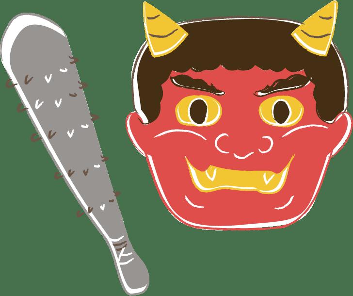 節分 イラスト 無料|手書きの赤鬼と棍棒