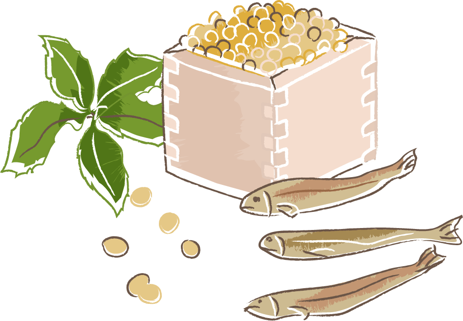 節分 イラスト 無料|手書きの柊鰯と福豆