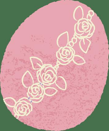 イースター イラスト 無料|手書き イースターエッグ ピンク色