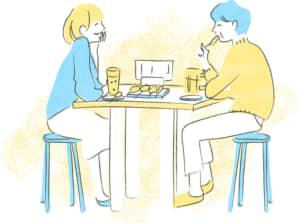 シーン イラスト 無料|居酒屋 カップル シーン