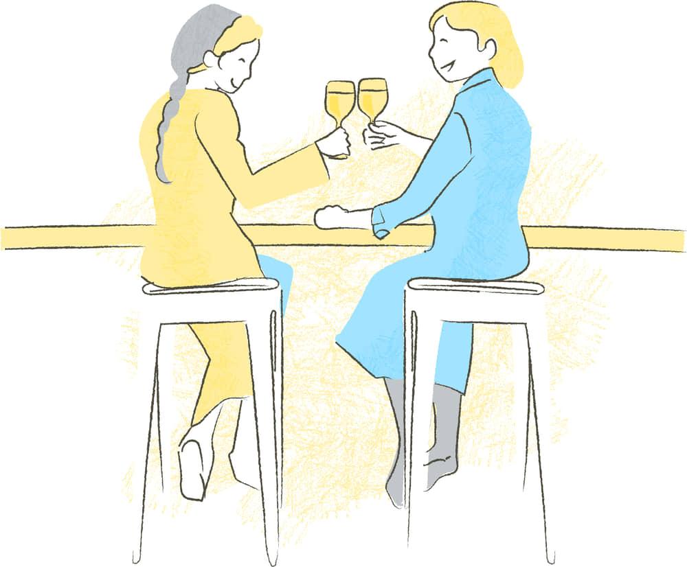 手書きイラスト無料|居酒屋 女子会 シーン