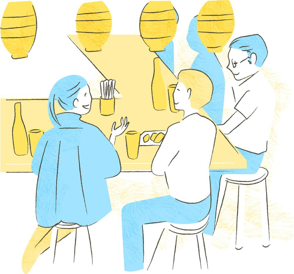 手書きイラスト無料|居酒屋 会話 シーン