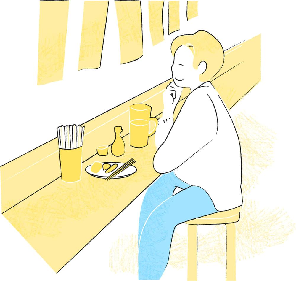 手書きイラスト無料|居酒屋 一人 シーン