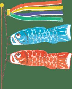 手書きイラスト無料|こどもの日 鯉のぼり