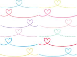 可愛いイラスト無料|手書き ハート 糸 カラフル セット