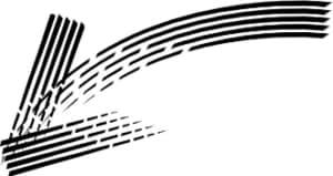 可愛いイラスト無料|手書き 矢印 黒 左下向き2