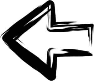 可愛いイラスト無料|手書き 矢印 黒 左向き1
