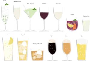 イラスト無料|お酒 カクテル ロック 日本酒 セット素材