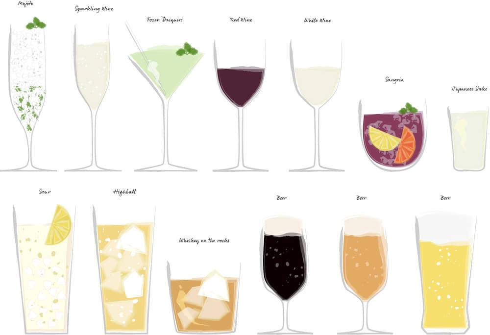 手書きイラスト無料|お酒 カクテル ロック ワイン 日本酒 セット素材