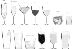 手書きイラスト無料|お酒 カクテル ロック ワイン 日本酒 白黒 セット素材