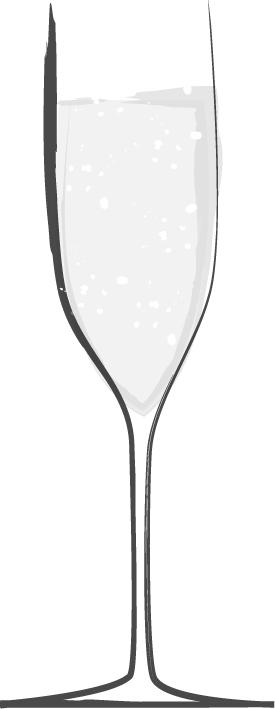 手書きイラスト無料|お酒 スパークリングワイン 白黒