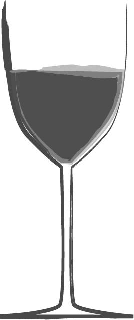 手書きイラスト無料|お酒 赤ワイン 白黒