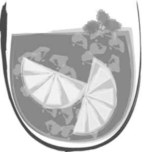 手書きイラスト無料|お酒 サングリア 白黒