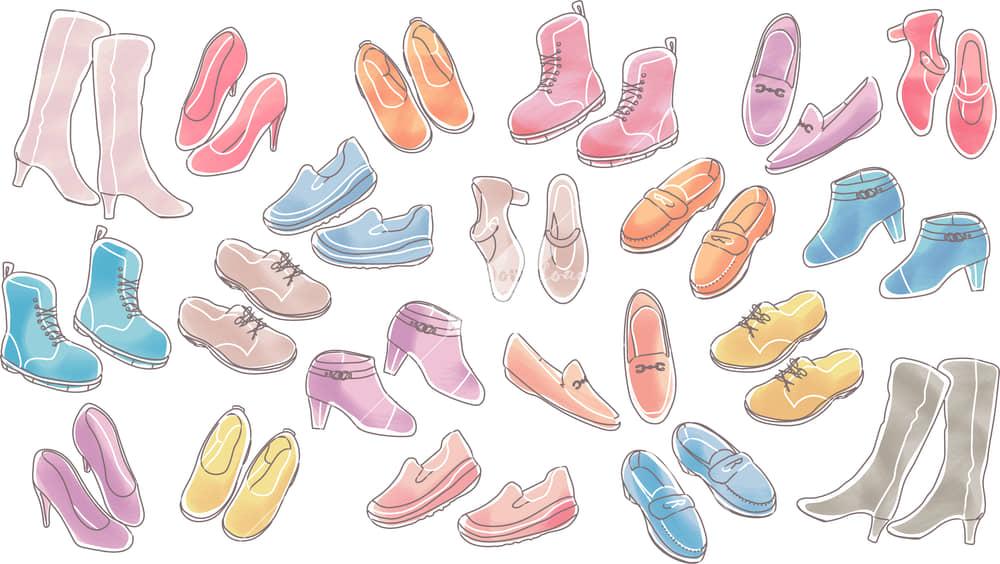 イラストデータ販売|女性の靴 シンプル セット