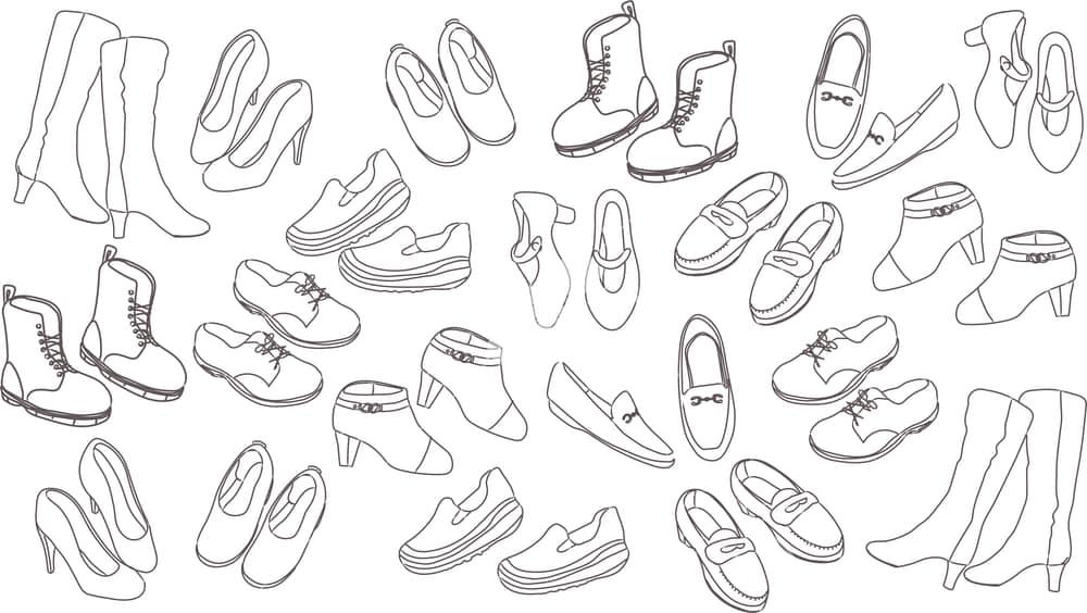 イラストデータ販売|女性の靴 線画 セット