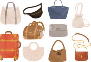 イラストデータ販売|女性 鞄 セット