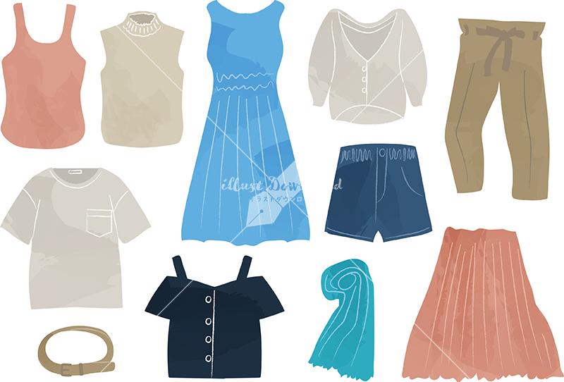 イラストデータ販売|女性 夏 服 ファッション セット