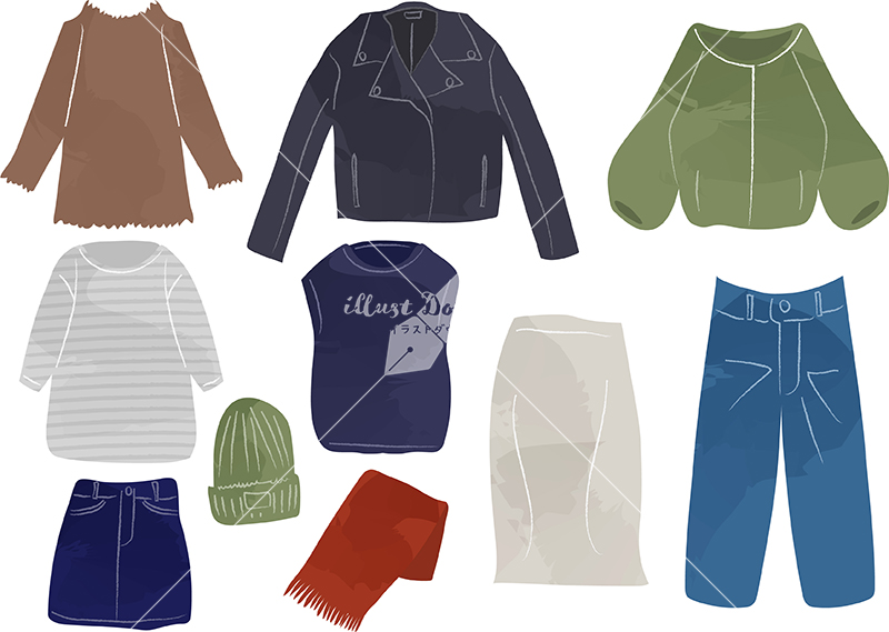 イラストデータ販売|女性 秋 服 ファッション セット
