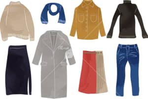 イラストデータ販売|女性 冬 服 ファッション セット