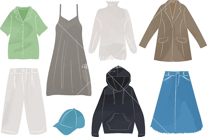 イラストデータ販売|女性 春 服 ファッション セット