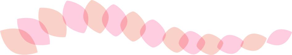 可愛いイラスト無料|罫線・ライン 葉っぱの波ボーダー 赤色