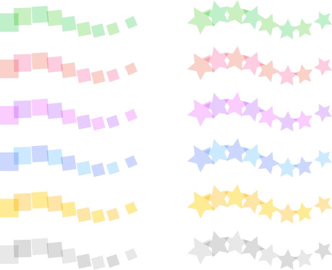 可愛いイラスト無料|罫線・ライン 四角と星のボーダー セット素材