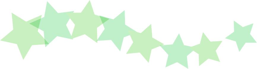 可愛いイラスト無料|罫線・ライン 星のボーダー 緑色