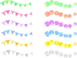 可愛いイラスト無料|罫線・ライン 宝石とフラッグ セット素材