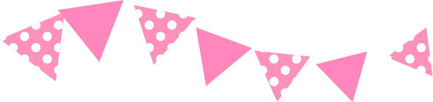 可愛いイラスト無料|罫線・ライン フラッグ ピンク色