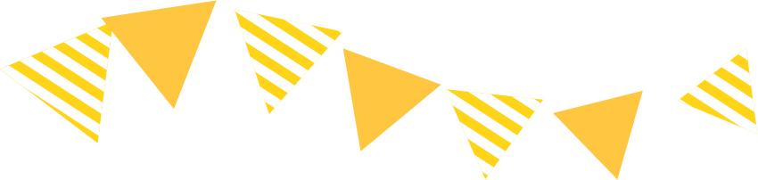 可愛いイラスト無料|罫線・ライン フラッグ 黄色