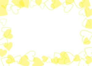 可愛いイラスト無料|背景 ハート 枠 黄色