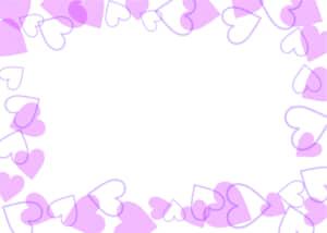 可愛いイラスト無料|背景 ハート 枠 紫色