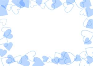 可愛いイラスト無料|背景 ハート 枠 青色