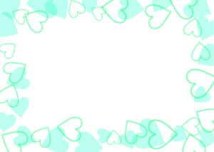 可愛いイラスト無料|背景 ハート 枠 緑色