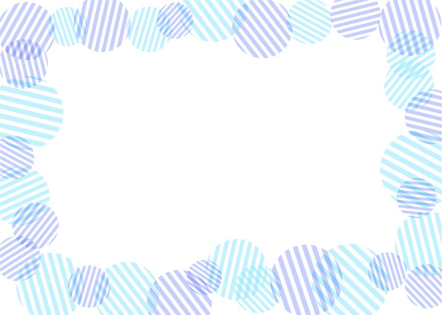 可愛いイラスト無料|背景 円ボーダー 枠 青色
