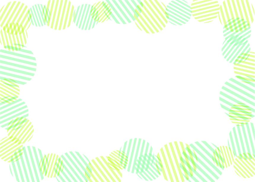 可愛いイラスト無料|背景 円ボーダー 枠 緑色