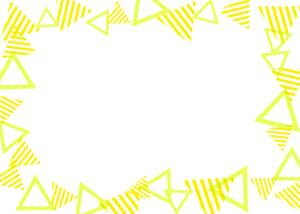 可愛いイラスト無料|背景 三角ボーダー 枠 黄色