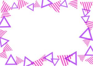可愛いイラスト無料|背景 三角ボーダー 枠 ピンクと紫色