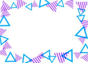 可愛いイラスト無料|背景 三角ボーダー 枠 紫色と青色