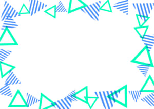可愛いイラスト無料|背景 三角ボーダー 枠 青色と緑色